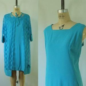 vintage 1960s blue dress |vintage blue shift dress
